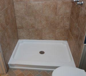 shower pan tile surround refinishing
